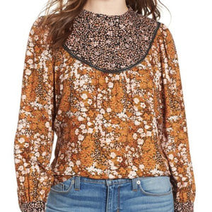 Hinge mix print floral top